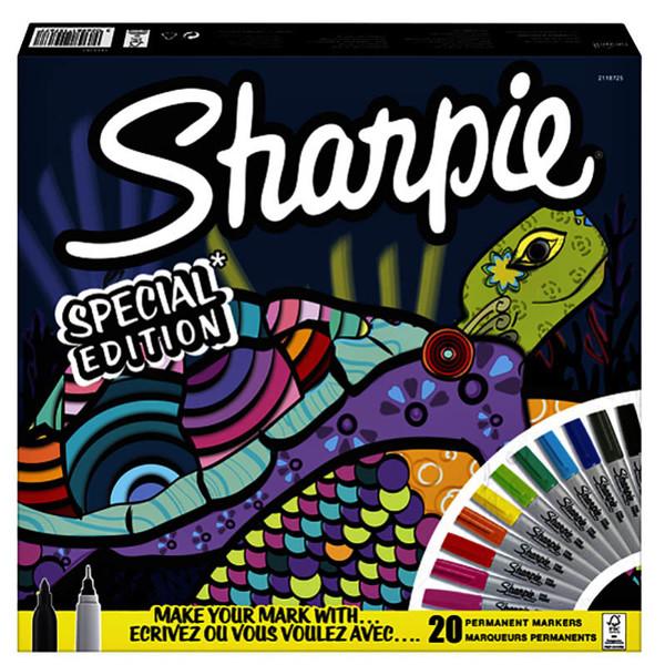 Afbeelding van viltstift Sharpie Fine 1.0mm permanent 14 kleuren, + 6 fineliner