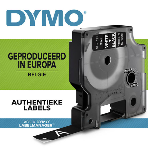 Picture of lettertape Dymo type D1 45021 12mm wit / zwart