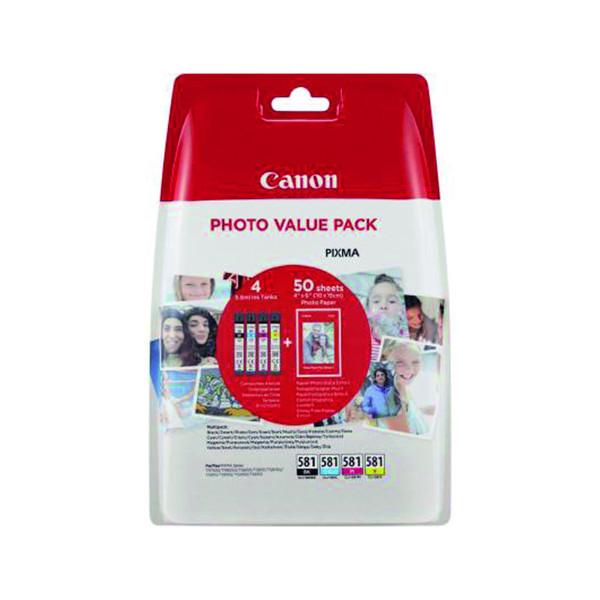 inktcartridge Canon CLI-581 4 kleuren + 50vel fotopapier 10x15cm