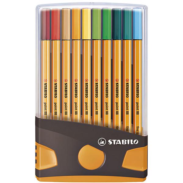 fineliner Stabilo point 88 20 kleuren ColorParade antraciet / oranje