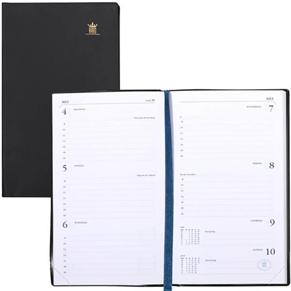 Afbeelding van agenda Ryam 2021 Memoplan 7 Suprema  90x151mm 7/2 zwart creme papier