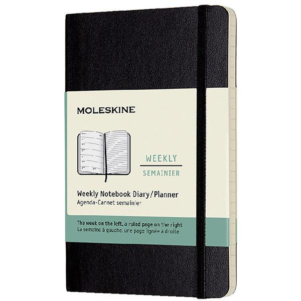 agenda Moleskine 2022 12M Weekly Notebook Pocket 90x120mm 7/1 + notitieblad zwart - soft