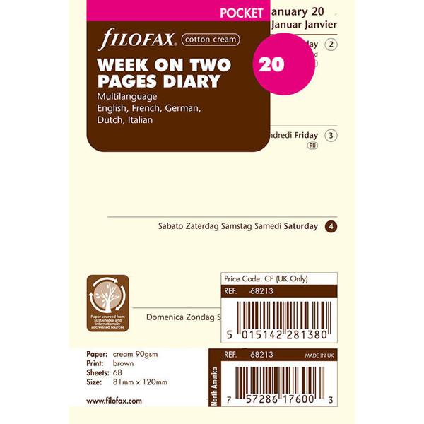 Bild von filofax Pocket calendarium 2022 7 dagen op 2 pagina's 5-talig blanco cotton cream