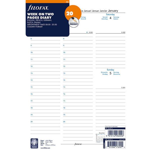 Bild von filofax A4 calendarium 2022 7 dagen op 2 pagina's in kolommen + tijd