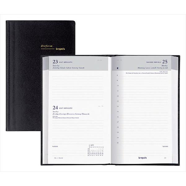 agenda Brepols  Breform Seta 100x165mm 1/1- zwart